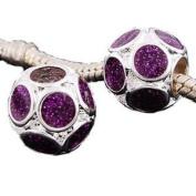 Believe Beads © Purple glitter Charm Bead for Pandora/Troll/Chamilia Style Charm Bracelet