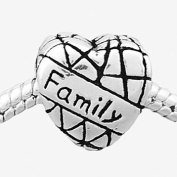 Truly Charming® Silver Family Heart Charm Bead Will Fit Pandora Troll Chamilia Style Bracelets