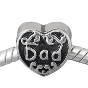 Silver Dad Heart Charm Bead Will Fit Pandora Troll Chamilia Style Bracelets