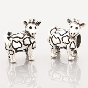 © Believe Beads Antique Silver Plated Cow Charm Bead for Pandora/Troll/Chamilia Style Charm Bracelets