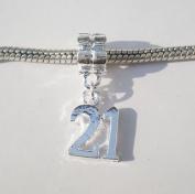 21st Birthday Charm Bead for Pandora/Troll/Chamilia Style Charm Bracelet
