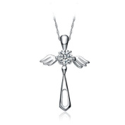 Chaomingzhen Sterling Silver Cubic Zirconia Cross Angel Wings Pendant Necklace with 46cm Chain for Women