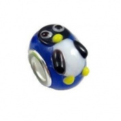 Believe Beads Lampwork Glass Penguin Charm Bead will fit Pandora/Troll/Chamilia Style Charm Bracelet.