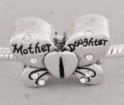 Truly Charming® Silver Clear Stone Mother Daughter Butterfly Charm Bead Will Fit Pandora Troll Chamilia Style