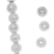 Wadoy 4mm Silver Plated Stardust Sparkle Round Beads