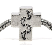 Charming Bead Store Beautiful Silvertone Cross Footprint Charm For Charm Bracelets