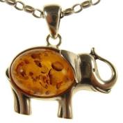 Baltic amber and sterling silver 925 designer cognac elephant animal pendant jewellery jewellery