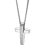 Fred Bennett Stainless Steel Matt and Polished Cross Pendant