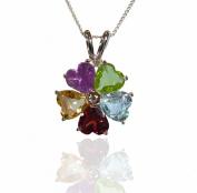 Sterling Silver 2.5ct Multi Heart Cut Gemstone Flower Pendant.