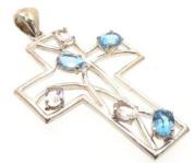 Ornate Blue Topaz and Clear Quartz Cross Pendant