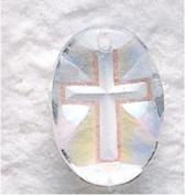 Aurora Borealis Oval Cross Crystal Pendant