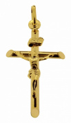 9ct Solid Yellow Gold Jesus on Cross Crucifix Pendant 26 x 17mm In Presentation Gift Box