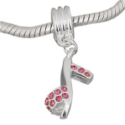 Believe Beads x1 Pink High Heel Shoe Dangle Silver Plated Charm Bead for Pandora/Troll/Chamilia Style Charm Bracelet