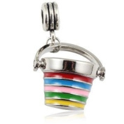Charming Bead Store Beautiful Enamelled Seaside Holiday Bucket Charm For Charm Bracelets