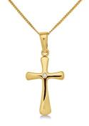Diamond Necklace, 9ct Yellow Gold, Diamond Cross Pendant, 45cm Chain, by Miore, MA932P