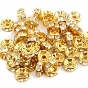 50pcs 8MM Gold Rhinestone Rondelle Round Bead Spacer HOT