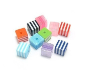 8mm Mixed Colour Striped Cube Lucite Beads DIY Jewellery Making 100pcs