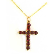 Luxury 9ct Yellow Gold Gemset Cross Pendant set with 11 Round Vibrant Garnets with Curb 9ct Yellow Gold 41cm inch Chain - Ideal for Christmas, Birthday, Anniversary or Anytime Gift