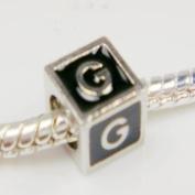 "Antique Silver European Style Black Enamel Letter ""G"" Bead Charm"