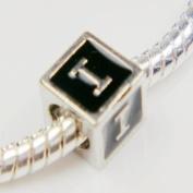 "Antique Silver European Style Black Enamel Letter ""I"" Bead Charm"