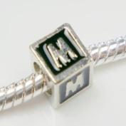"Antique Silver European Style Black Enamel Letter ""M"" Bead Charm"