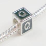 "Antique Silver European Style Black Enamel Letter ""Q"" Bead Charm"