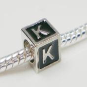 "Antique Silver European Style Black Enamel Letter ""K"" Bead Charm"