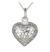 Ladies' Filigree Open Heart Pendant Necklace, Silver Curb Chain, 46cm Length, Model C/SP585