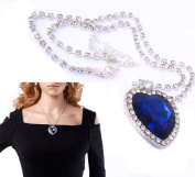 4youquality High Quality Titanic Blue Heart Of Ocean Crystal Necklace Pendant With Full Crystal Silver Chain