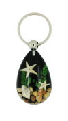 Real Sealife Scene with Starfish and Shells Keyring in Black