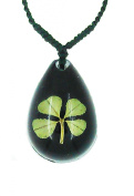 Celtic Lucky Real 4 Four Leaf Clover Good Luck Black Pendant Necklace with Gift Box & Guarantee