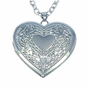 Toc Silver Plated Heart Locket Pendant on an 46cm Chain