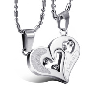"""JewelryWe 316L Stainless Steel """"I Love You"""" Silver Tone Matching Hearts Lovers Couple Cz Pendant Necklace Set"""