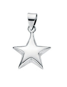 Elements Sterling Silver Small Puffed Star Pendant