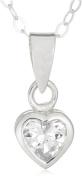 Jo For Girls Silver Clear Cubic Zirconia Heart Pendant