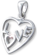 Genuine 925 Sterling Silver Love Heart Pendant with eCoat Protection - FREE GIFT BOX