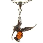 Baltic amber and sterling silver 925 designer cognac hummingbird pendant jewellery jewellery