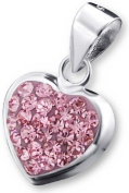 Genuine 925 Sterling Silver Love Heart Pendant with Rose CZ Stones - FREE GIFT BOX