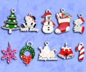 Housweety 20 Mixed Silver Plated Enamel Christmas Charms Pendants