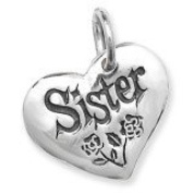 Sterling Silver Sister Heart Pendant with 46cm Sterling Silver Curb Chain.