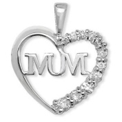 MUM Heart Pendant for Chain Necklace - 925 Sterling Silver with Bling CZ Stones.