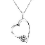 """Chaomingzhen Cubic Ziconia Sterling Silver """"My Sister My Friend"""" Open Heart Pendant Necklace for Women Chain 46cm"""