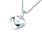 "Silver Child's Heart Locket (approx 9mm) with tiny diamond (0.01ct) and 14"" Necklace by D for Diamond"