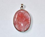 Genuine Gemstone Pendant 52x32mm - Cherry Quartz