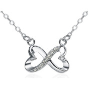 Chaomingzhen Sterling Silver Cubic Zirconia Heart Shaped Forever Infinity Love Pendant Necklace for Women Chain 46cm
