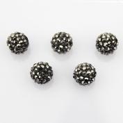 DUMAN 20pcs 10mm Shamballa Inspired Crystal Ball Beads, Black