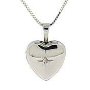 Toc Sterling Silver 12mm Cz Heart Locket Pendant on 18 Inch Chain