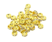 DUMAN 100pcs 8mm Gold Plated Crystal Rondelle Bead Spacer Beads White Crystal for Jewellery Making