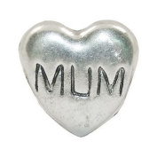 """Charming Bead Store Beautiful Hallmarked Solid Sterling Silver """"Mum"""" Charm For Charm Bracelets"""