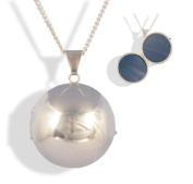 Sterling Silver 2 Picture Family Ball Locket & Chain